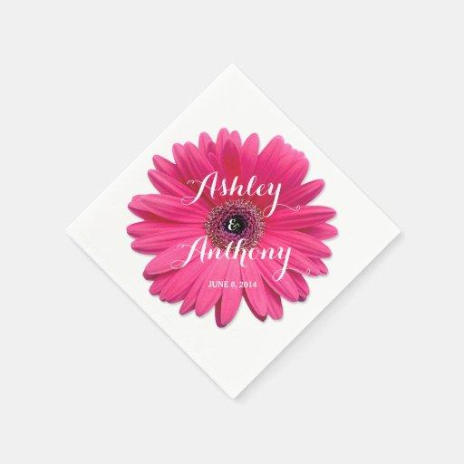 Pink Gerbera Gerber Daisy Personalized Wedding Paper Napkins