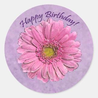 Pink Gerbera Happy Birthday sticker