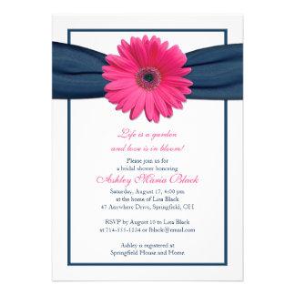 Pink Gerbera Navy Ribbon Bridal Shower Invitation