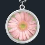 "Pink Gerbera Necklace<br><div class=""desc"">A beautiful gerbera in a very light pink and a soft green eye makes this a lovely necklace pendant. A gorgeous gift for a woman or a teenage girl.</div>"