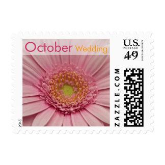 Pink Gerbera • October Wedding Stamp