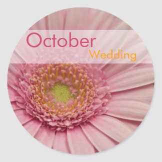 Pink Gerbera • October Wedding Sticker