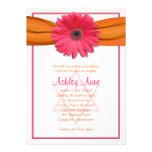 Pink Gerbera Orange Ribbon Bat Mitzvah Invitation