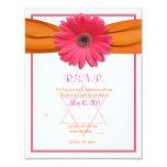 Pink Gerbera Orange Ribbon Bat Mitzvah Reply Card Custom Invitations