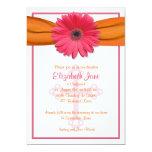 Pink Gerbera Orange Ribbon Confirmation Invitation