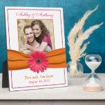 Pink Gerbera Orange Ribbon Wedding Photo Plaque