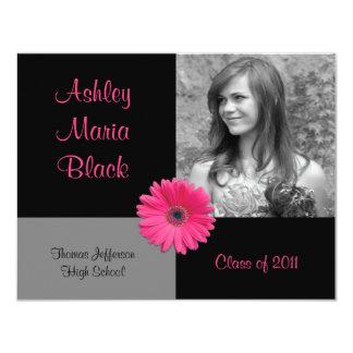 "Pink Gerbera Photo Graduation Invitation 4.25"" X 5.5"" Invitation Card"