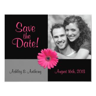 Pink Gerbera Photo Wedding Save the Date Card