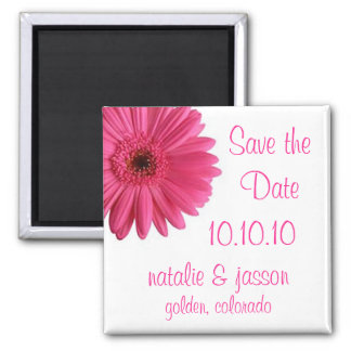 Pink Gerbera Save the Date 2 Inch Square Magnet