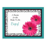 Pink Gerbera Teal Recipe Card for the Bride to Be Postcard