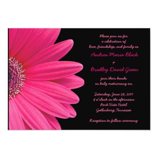 Hot Pink Gerbera Daisy White Wedding Invitation 5 X 7: Pink Gerbera Wedding Invitation - Pink And Black