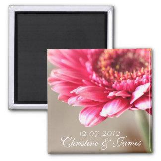 Pink gerbera  wedding magnet