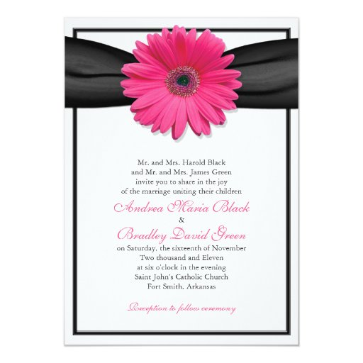 "Pink Gerbera with Black Ribbon Invitation 5"" X 7"" Invitation Card"