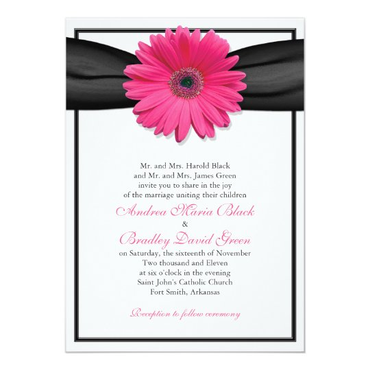 Pink Gerbera with Black Ribbon Invitation