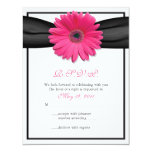 Pink Gerbera with Black Ribbon Response Card Personalized Invites