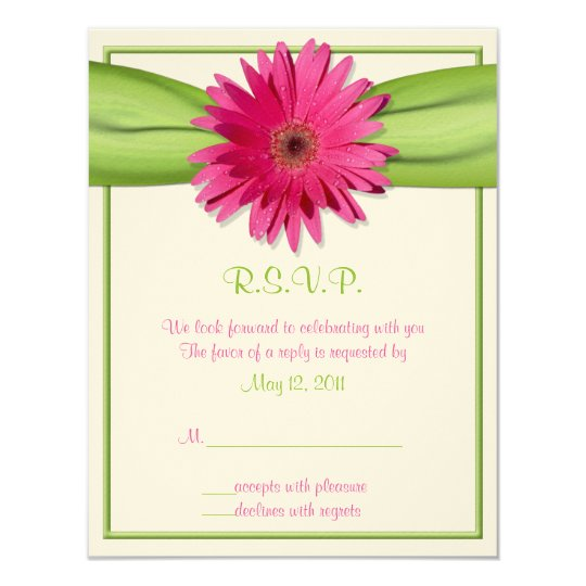 Pink Gerbera with Green Ribbon Response Card