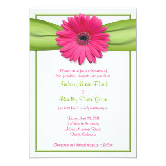 Pink Gerbera with Green Ribbon Wedding Invitation