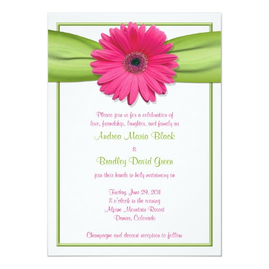 Hot Pink Gerbera Daisy White Wedding Invitation 5 X 7: Pink Gerbera With Green Ribbon Wedding Invitation