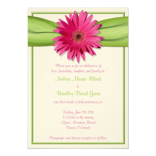 Pink Gerbera with Green Satin Ribbon Invitation