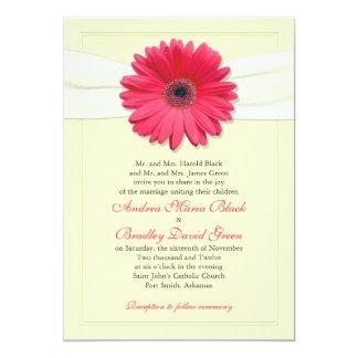 Pink Gerbera with Ivory Ribbon Invitation