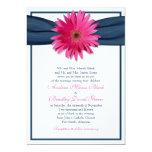 Pink Gerbera with Navy Blue Ribbon Invitation