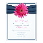 Pink Gerbera with Navy Ribbon Response Card Personalized Invite