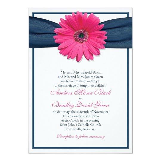 Gerbera Wedding Invitations: Pink Gerbera With Navy Ribbon Wedding Invitation