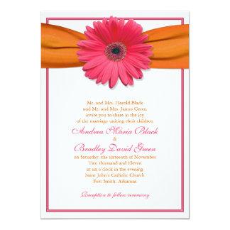 Pink Gerbera with Orange Ribbon Wedding Invitation