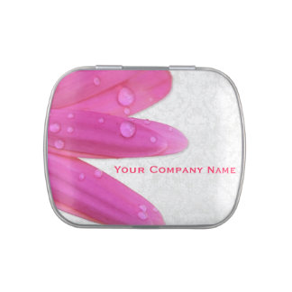 Pink Gerbera with Water Drops Jelly Belly Candy Tins
