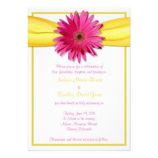 Pink Gerbera with Yellow Ribbon Invitation