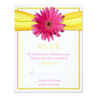 Pink Gerbera with Yellow Ribbon Response Card
