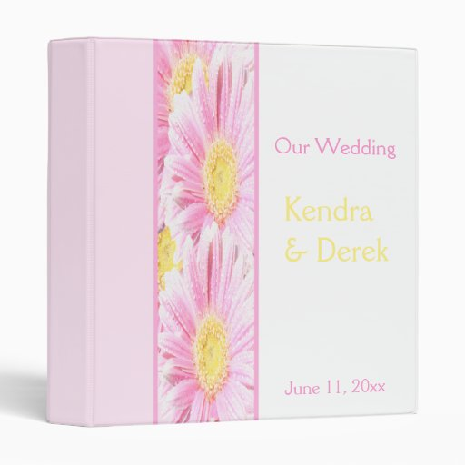 Pink Gerberas on White Wedding Binder