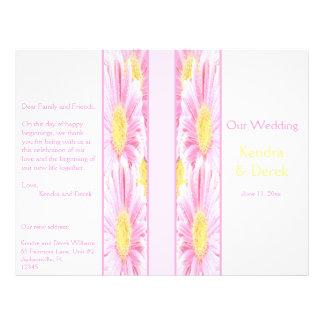 Pink Gerberas on White Wedding Program