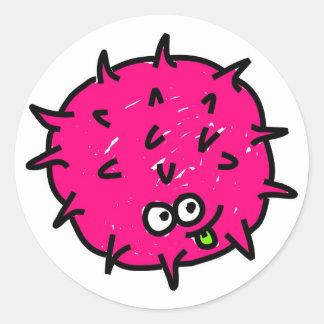 Pink Germ Round Sticker
