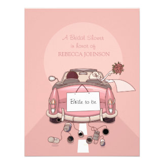 Pink Getaway Car - Bridal Shower invitation
