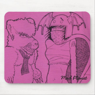 Pink Ghost Girl and Angry Bear Mouse Pad
