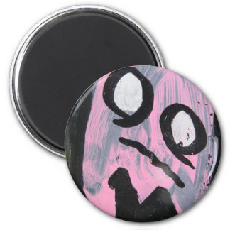 Pink ghost 2 inch round magnet