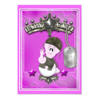 Pink GI Soldier Girl Baby Shower Invitations
