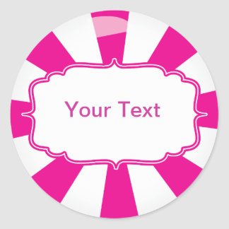 Pink Giant lollipop candy Buffet label Classic Round Sticker