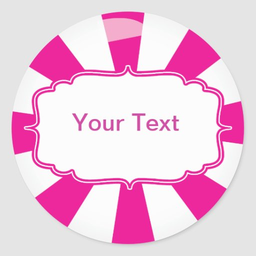 Pink Giant lollipop candy Buffet label Round Sticker