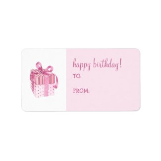 Pink Gift Birthday Gift Tag Label label