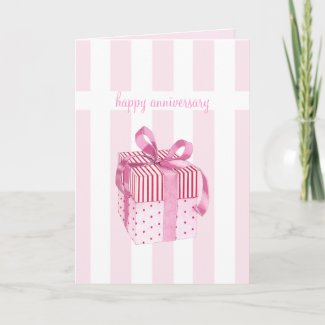Pink Gift stripes Anniversary Card card