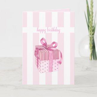 Pink Gift stripes Birhday Card card