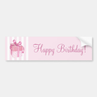 Pink Gift stripes Birthday Bumper Sticker