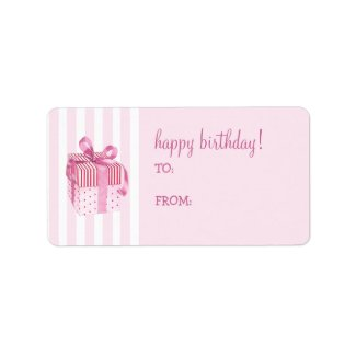Pink Gift stripes Birthday Gift Tag Label label