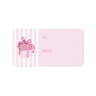 Pink Gift stripes Gift Tag Label label