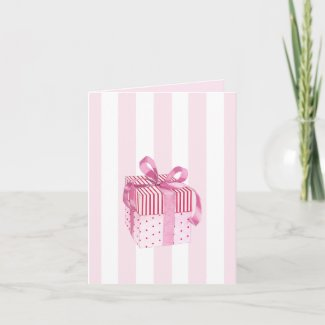 Pink Gift stripes Note Card card