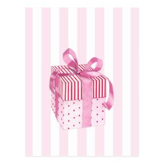 Pink Gift stripes Postcard