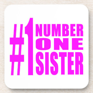 Pink Gifts for Sisters : Number One Sister Drink Coaster