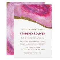 Pink Gilt Agate Wedding Invitations